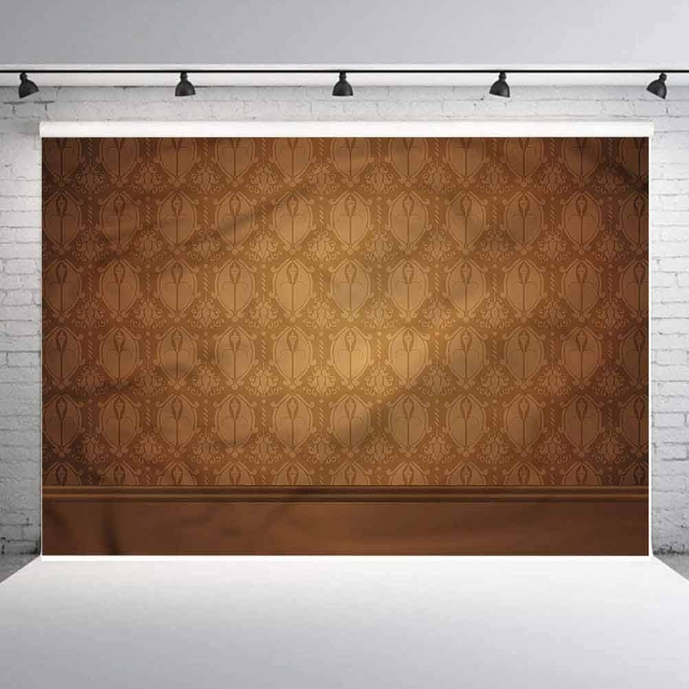 5x5FT Vinyl Photo Backdrops,Tan,Antique Damask Royal Aged Photoshoot Props Photo Background Studio Prop