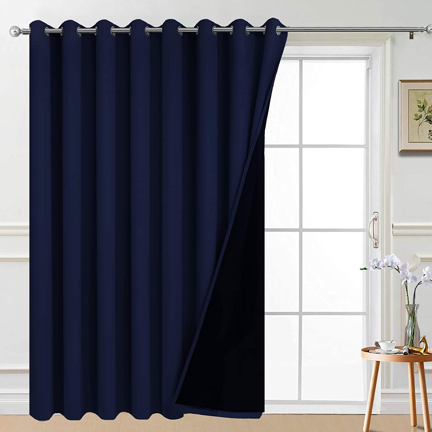 Yakamok 100% Wide Blackout Curtain 100 x 84 Inches for Sliding Glass Door, Grommet Light Blocking Thermal Insulated Room Divider Curtain for Living Room, 1 Panel,8.3ft Wide x 7ft Tall, Navy Blue 100W x 84L Navy Blue