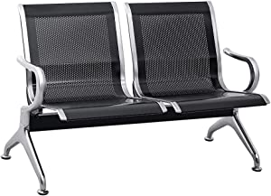 INTERGREAT 2 Seat Airport Reception Chairs Waiting Room Chair with Arms, Metal Reception Bench Seating, Lobby Chairs for Business Office Hospital Bank Airport Market (Black)