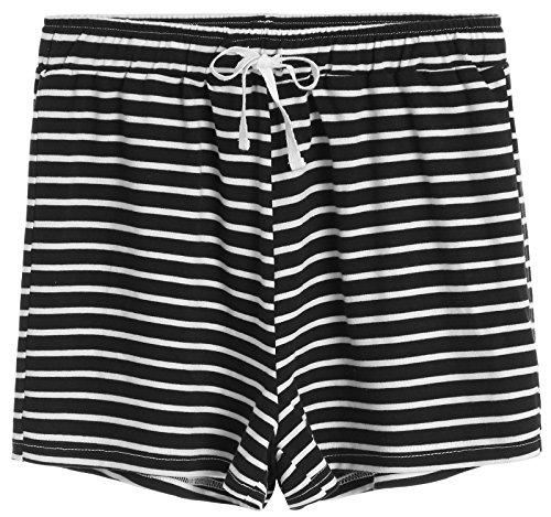 Latuza Women's Cotton Striped Pajama Shorts M - Black Pajama Watch