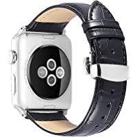 iStrap 42/44mm Alligator Grain Leather Replacement Strap for Apple Watch (Black/Silver Clasp)
