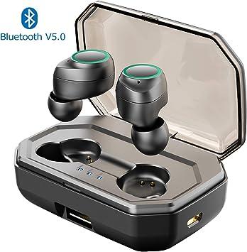 Muzili Écouteurs Bluetooth 5.0 3000mAh 125h Oreillette Bluetooth sans Fil Début Hi FI Stéréo CVC8.0 Antibruit IPX7 Sport Etanche Auto Appariement