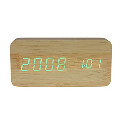 Decorativo reloj Matin electrónico reloj digital LED bambú de madera Déclenchez la alarma gráfico horas,