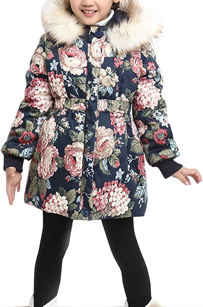 Girls Floral Thick Quilted Padded Winter Coat with Faux Fur Trim Hood