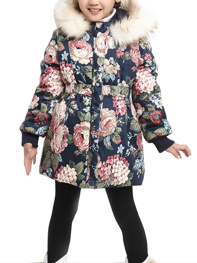 OCHENTA Girls' Floral Thick Quilted Padded Winter Coat with Faux Fur Trim Hood Navy Blue Tag 130-47''(6-7Y)