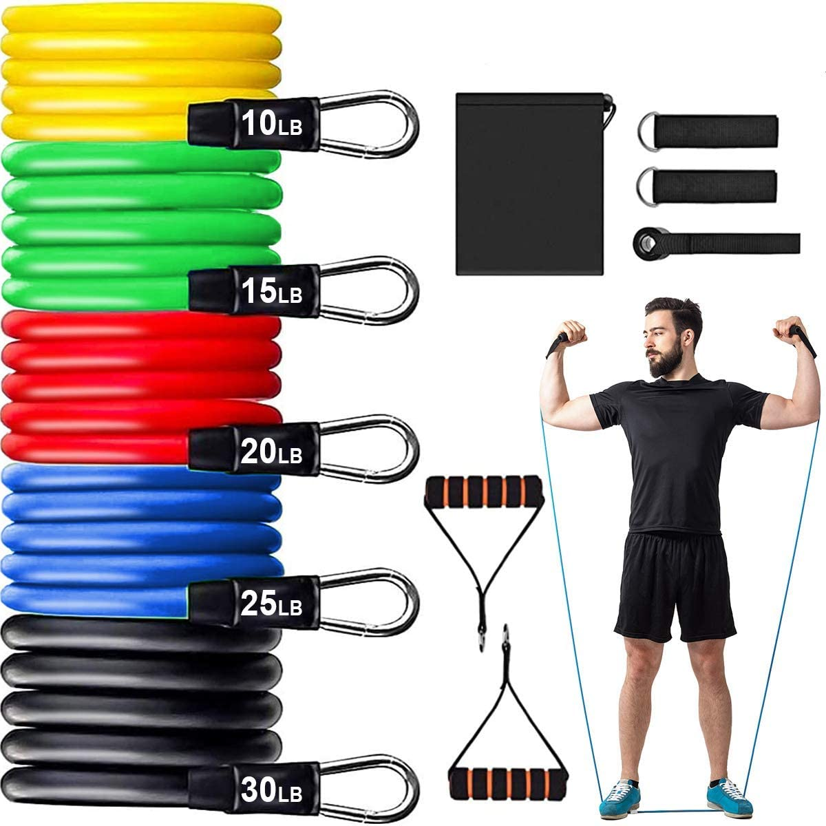 Camfosy 11 Pcs Exercise Resistance Bands Set WAS £22.99 NOW £11.49 w/code CAMFOSY106 @ Amazon