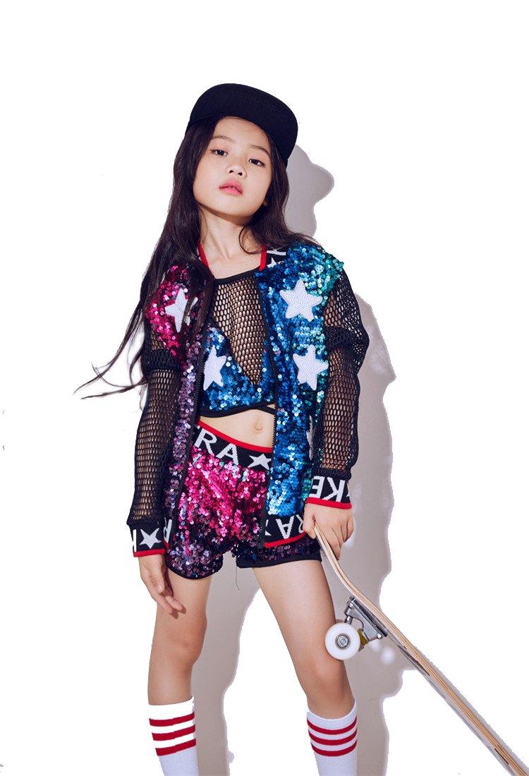 Moyuqi nuovi costumi per bambini Girls Jazz Dance hip-hop moderna danza costumi da baseball abbigliamento paillettes Dancewear