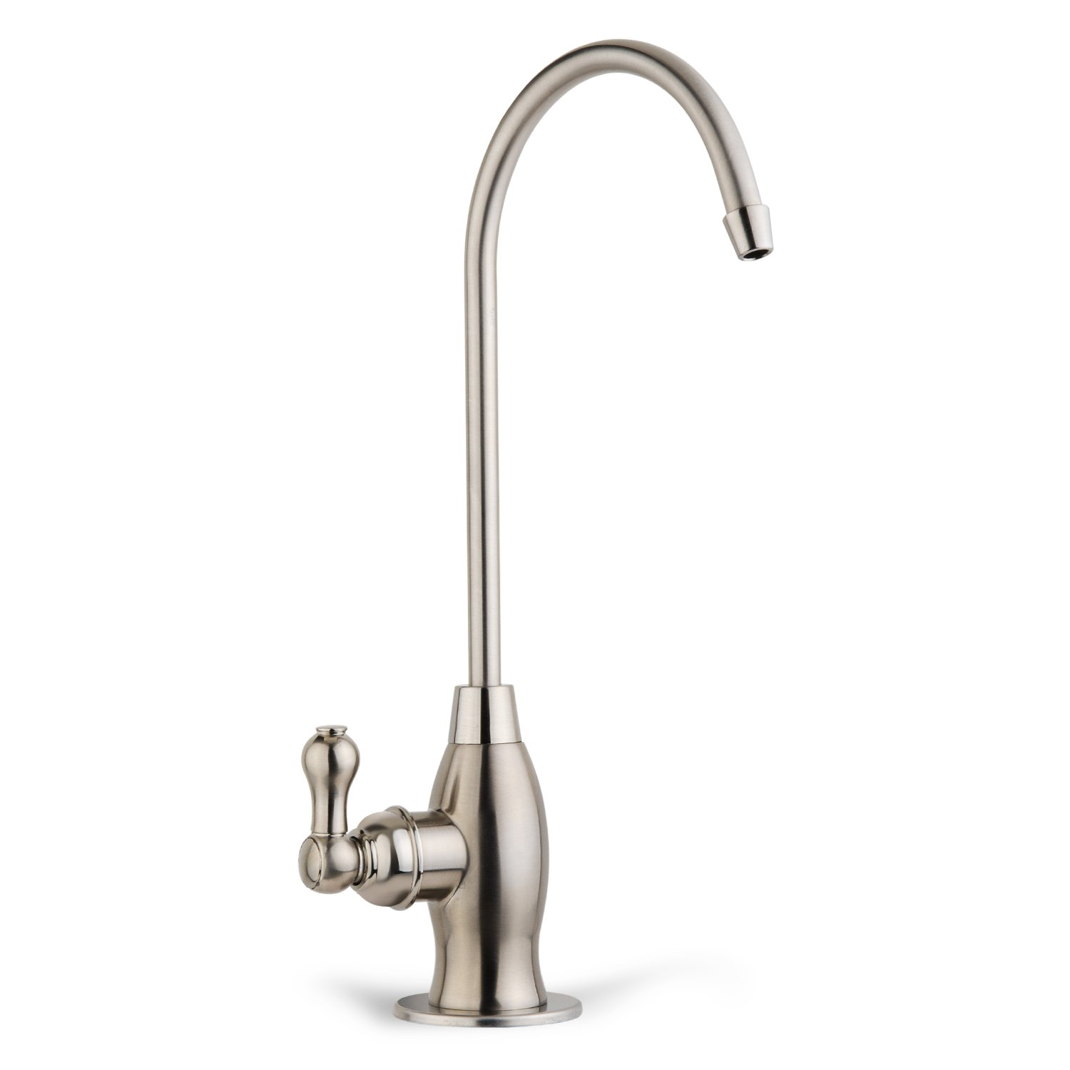 iSpring GK1-BN Heavy Duty Kitchen Bar Sink Drinking Water Faucet, Commercial Water Filtration Faucet - Brushed Nickel - Designer Coke Shaped Style High-Spout