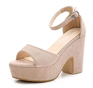 483927afd9 Women's Open Toe Ankle Strap Block Heeled Wedge Platform Sandals Beige  Velveteen US6 EUR36