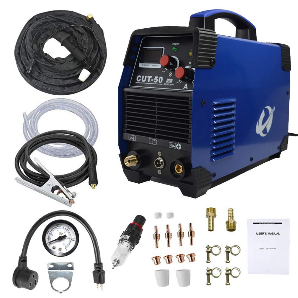 Plasma Cutter, CUT50 50 Amp 110V/220V Dual Voltage AC DC IGBT Cutting Machine with LCD Display and Accessories Tools by CORAL (Image #1)