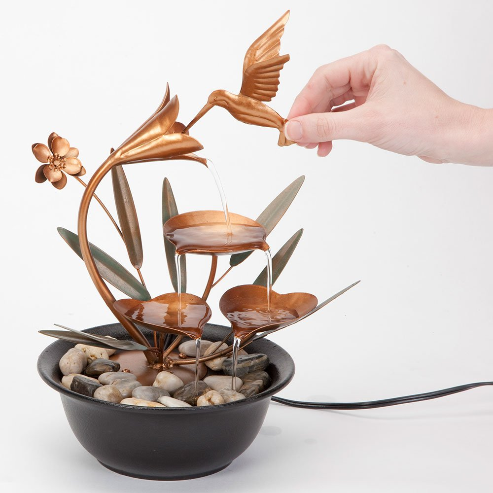 Bits and Pieces - Indoor Hummingbird Lily Fountain - Zen Tabletop Water Fountain by Bits and Pieces (Image #3)