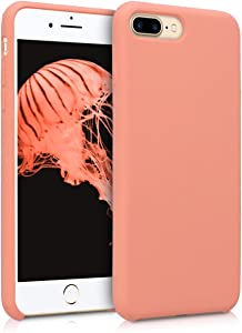 kwmobile TPU Silicone Case Compatible with Apple iPhone 7 Plus / 8 Plus - Soft Flexible Rubber Protective Cover - Coral