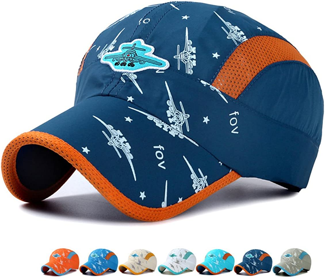 Kids Baseball Hat Quick Drying - Toddler Boy Girl Baseball Hat Airplane Embroidery Mesh Cap Sun Hats Age for 3-12Years Old