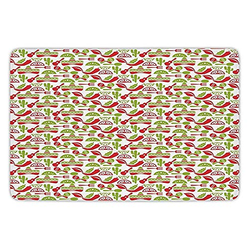 Apple 505 (K0k2t0 Bathroom Bath Rug Kitchen Floor Mat Carpet,Fiesta,Mexican Civilization Elements Hats Guitars Food Musical Instruments,Vermilion Apple Green White,Flannel Microfiber Non-Slip Soft Absorbent)