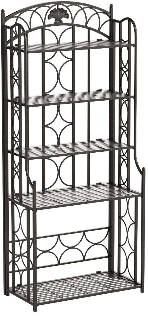 International Caravan Mandalay Iron 5-Tier Bakers Rack in Black by International Caravan