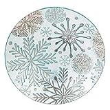 Evergreen Snowflakes Holiday Pebble Glass Birdbath, 18 inch Diameter