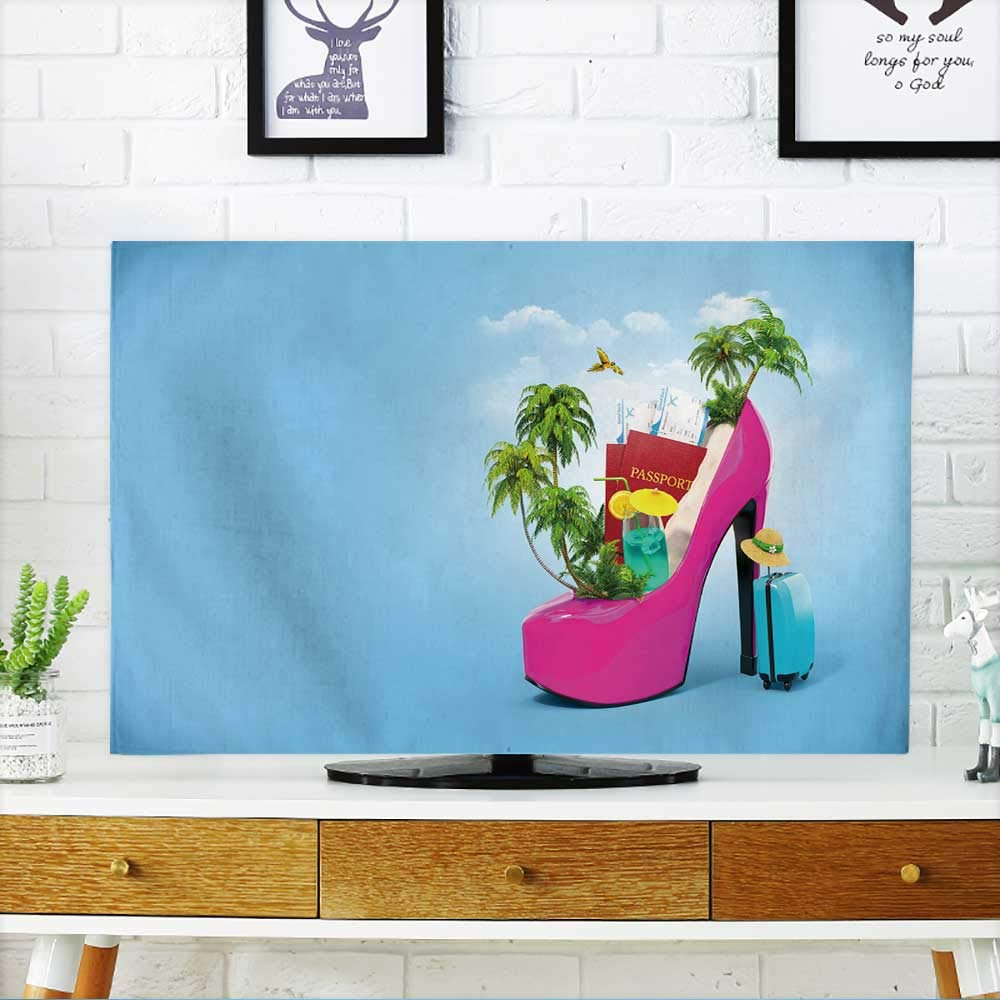 PRUNUS Television Protector Tropical Island in The Women's Shoe Unusual Travel Television Protector W19 x H30 INCH/TV 32''