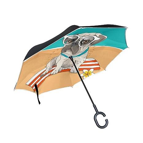 1187e4416bdc Amazon.com : U LIFE Cute Dog Puppy Reverse Inverted Umbrella Sun ...