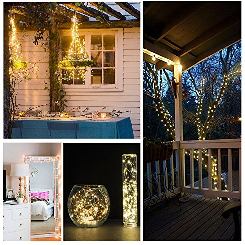 JMEXSUSS 8 Modes Remote Control 100 LED 32.8ft Battery Operated Waterproof Dimmable Fairy String Copper Wire Lights for Christmas, Bedroom, Patio, Wedding, Party, Warm White by JMEXSUSS (Image #3)