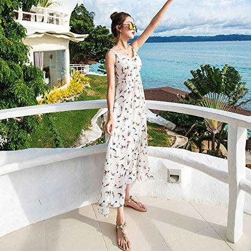 XIU*RONG Eslingar Vestir Falda Larga Falda De Playa De Vacaciones Junto Al Mar white