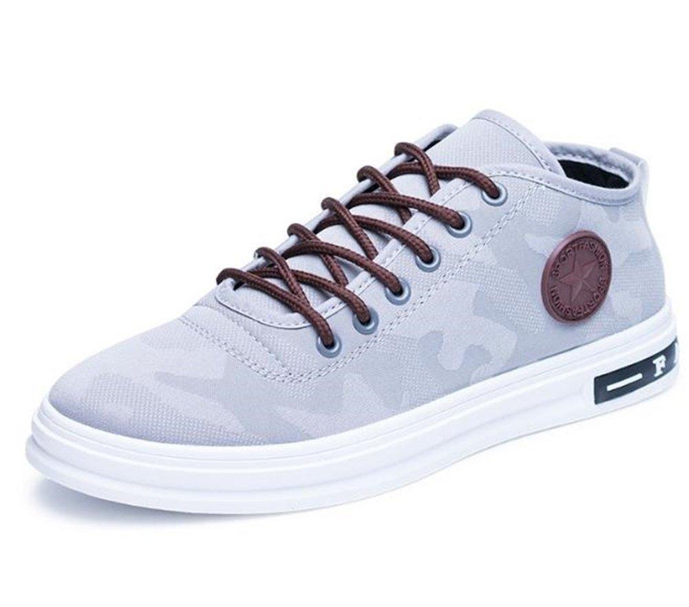 Kuro&Ardor Men's Sneakers Camo Pattern Fashion Shoes Casual Color Canvas Lace up Boys (8 D (M) 26cm, Gray)