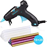 Upgraded Blusmart Hot Glue Gun, 20W High Temperature, 20pcs Glue Sticks and 10Colors Sticks, Ideal for Quick Repairs, DIY Projects & Arts(New Style)
