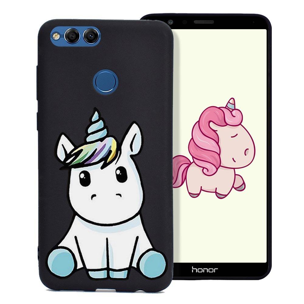Cover Huawei Honor 7X Custodia Stampa Unicorno Bello Ultra Sottile Morbido Gomma Silicone TPU Fresco Colore Caramella Tinta Unita Case Protettiva Copertura - Nero Fine Finet