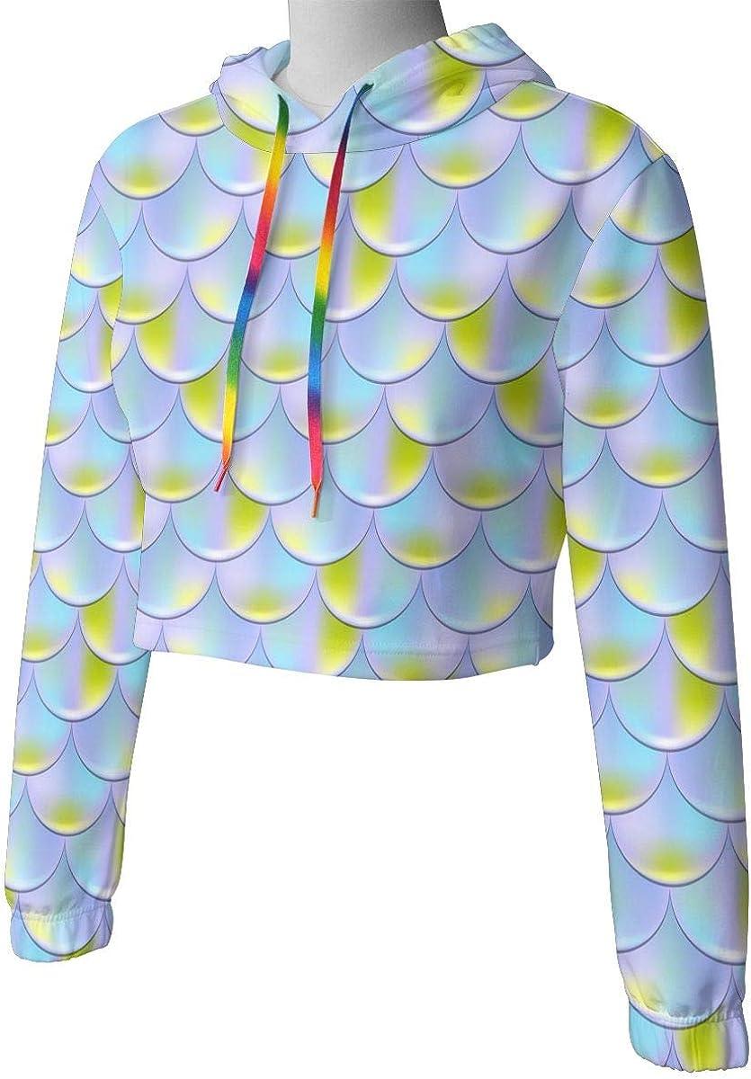 Blue Mermaid Scales Squama Women Sweatshirt Casual Hoodie Tshirt T Hoodies Cropped Crop Tops