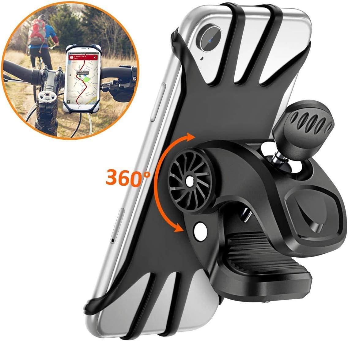 Vobon Soporte Móvil Bicicleta, Soporte Móvil Bici 360 Grados Anti Vibración Prevención De Caída Silicona Manillar Porta Móvil Moto 4.7 o 6.5 Pulgada Teléfonos (Negro)