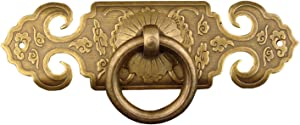 1 Pack - Brass Bail Pull Handle Antique English Assembled Knob Including Mounting Screws, Antique Brass Tone