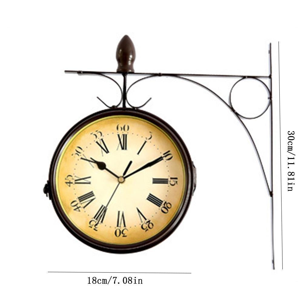 Horloge silencieuse pour la d/écoration du Jardin gaeruite Horloge Murale Double Face Horloge de Gare r/étro /à Deux Faces Fixation Murale