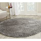 Safavieh SG267C-6R Popcorn Shag Collection Handmade Silver Polyester Round Area Rug, 6-Feet in Diameter
