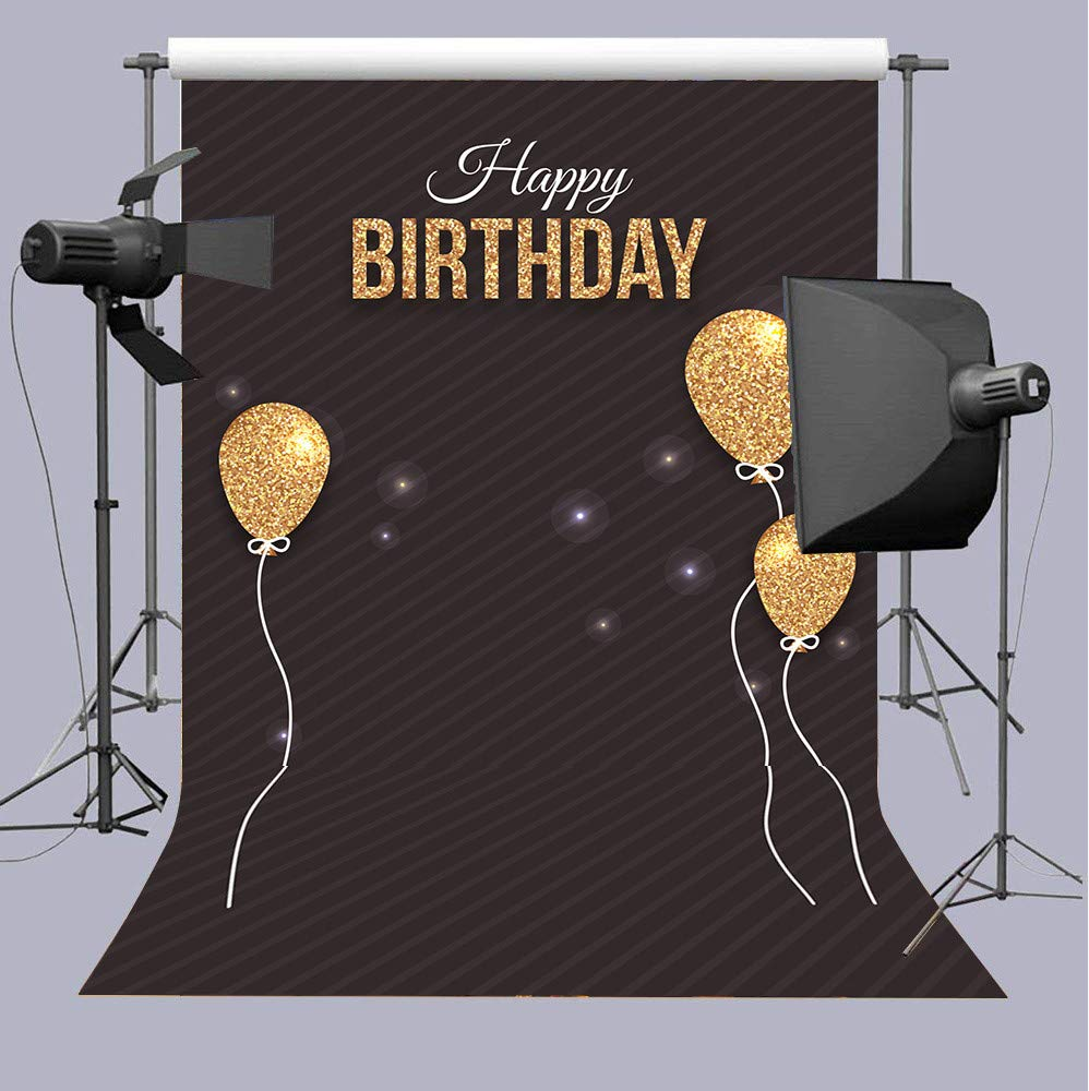 CDM product Qian Black Photography Backdrops Golden Balloon Photo Birthday Party Decoration Background Studio Props Banner 5x7ft big image