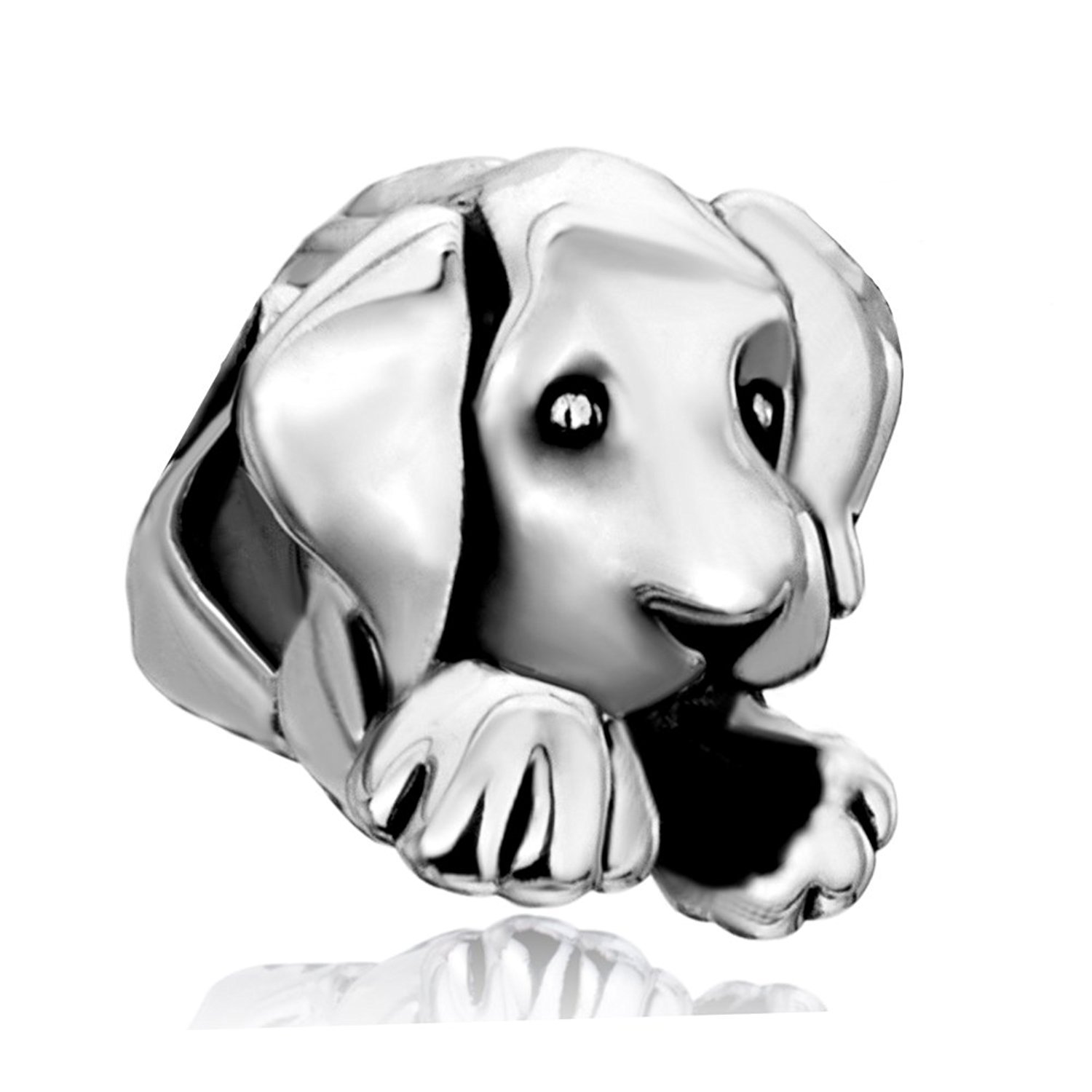 Everbling Cute Puppy I Love Dog Pet Lover25 Sterling Silver Bead Fits European Charm Bracelet (Cute Puppy)