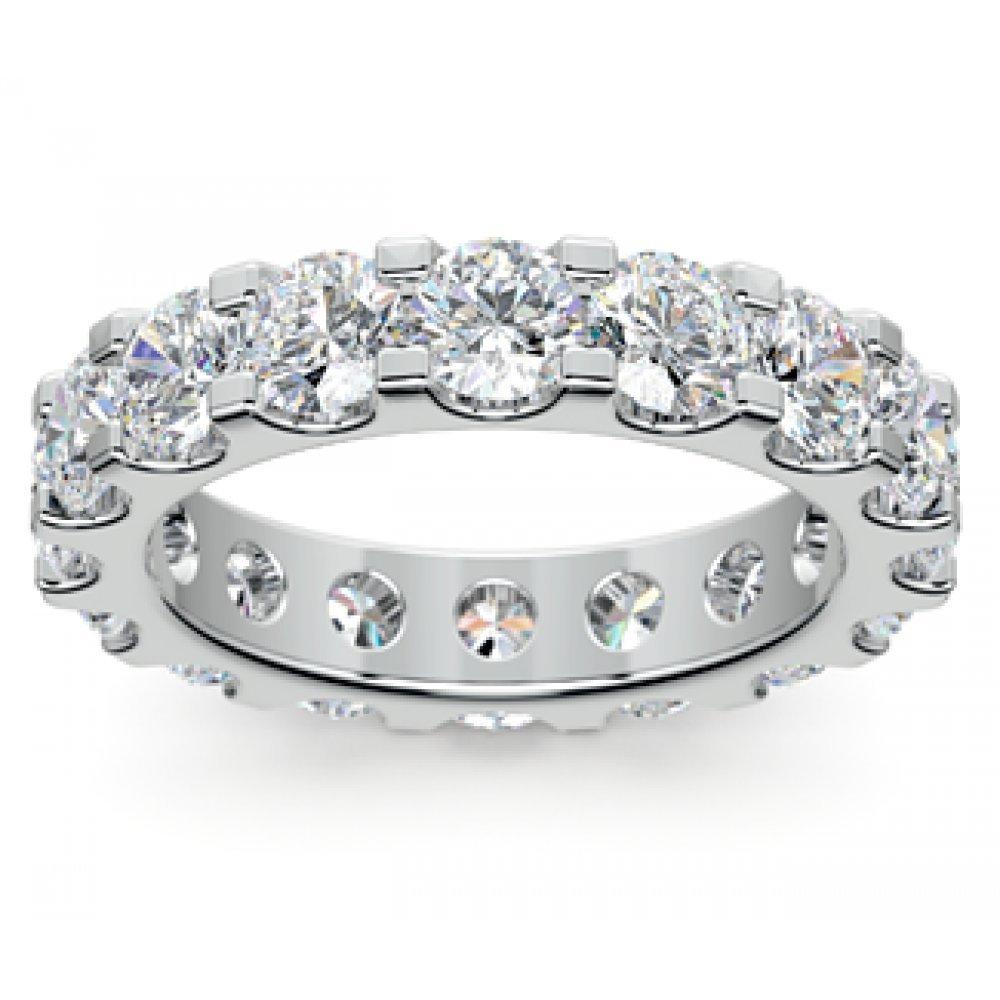 4.00 ct Ladies Round Cut Diamond Eternity Wedding Band Ring in Platinum In Size 8