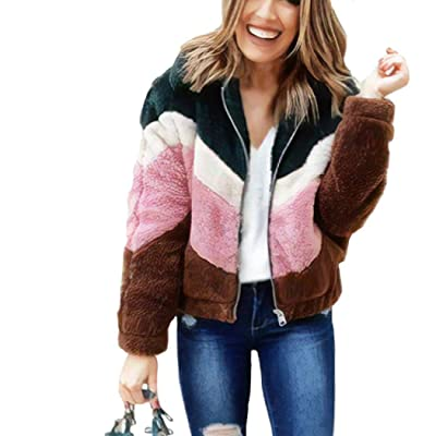 Womens Faux Fur Fleece Long Sleeve Zipper Loose Jacket Coat Color-Block Warm Fuzzy Shaggy Outwear Pockets at Women's Coats Shop