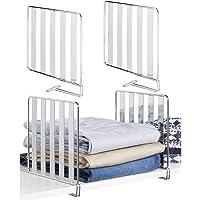 mDesign Juego de 4 separadores metálicos para organizar armarios – Prácticos divisores de estantes de metal – Útiles…