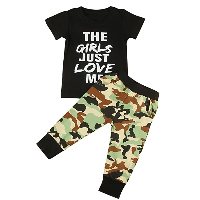 9b3adc17c puseky Toddler Kid Baby Boys Letters T-Shirt & Camo Pants Tracksuit Outfits  Set (