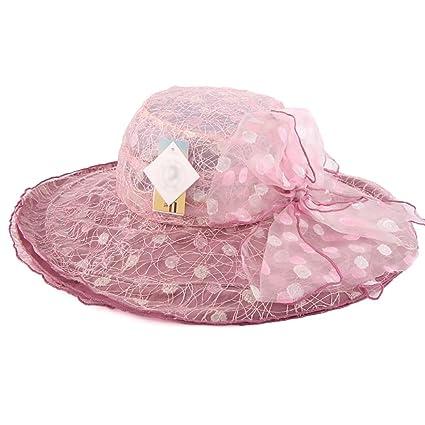 YXX- Protección UV Mujeres Sombrero de la playa Sombrero plegable de la visera  Gorra Sombrero 3f0d7c4c572