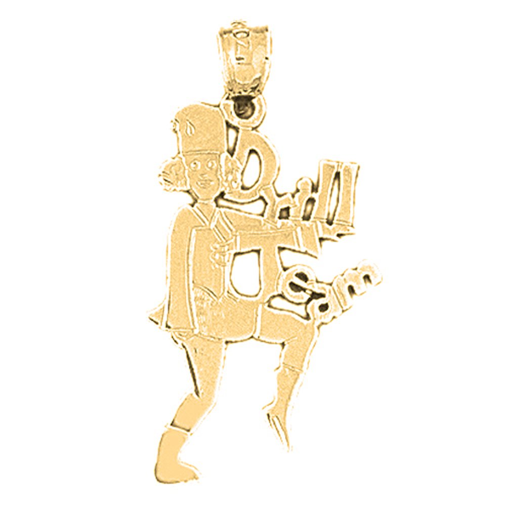 Jewels Obsession Drill Team Necklace 14K Yellow Gold-plated 925 Silver Drill Team Pendant with 18 Necklace