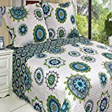 Quilt Coverlet Set Full Queen Double Size Teal Aqua Blue Green Boho Bohemian Mandala Medallion Pattern Lightweight Reversible Teen Girls Bedding