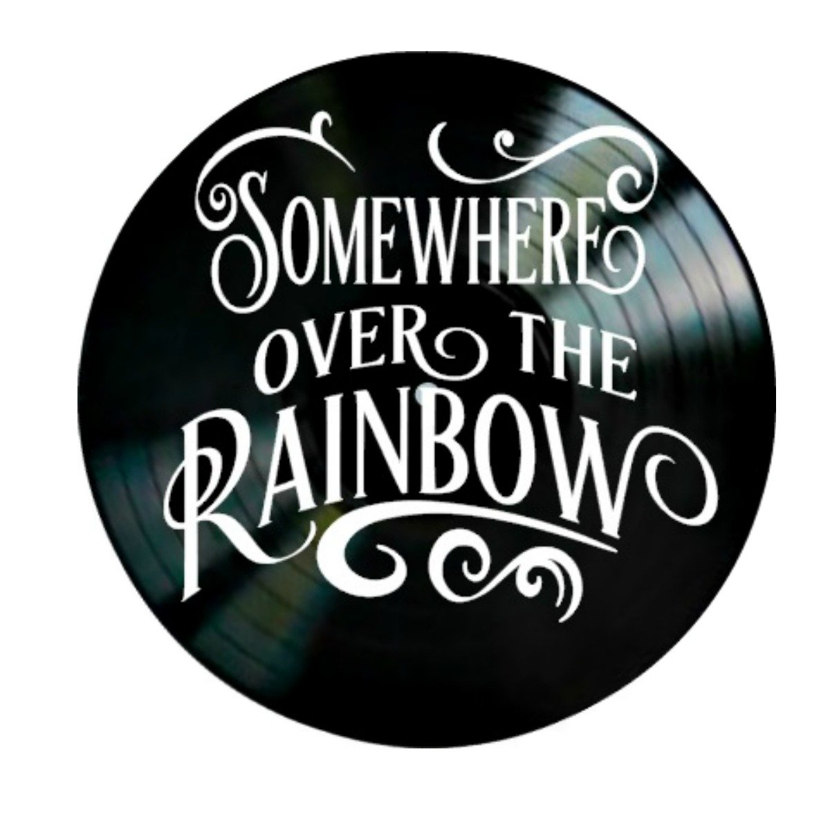 Somewhere Over the Rainbow song lyrics from The Wizard of Oz on a Vinyl Record Album Wall Art