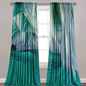 """LCGGDB Nature Blackout Curtains,Natural Marble Cave at European Mediterranean Lake Geologic Eroded Artwork Photo Room Darkening Blackout Drapes for Home Decoration,42""""x 84"""",2 Panels,Turquoise Grey"""