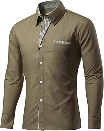 New Mens Long Sleeve Formal Shirt Button Up Plain Smart Dress Work Office Top