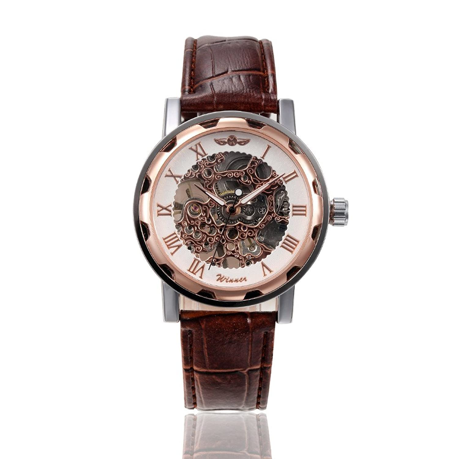 gohuosユニセックススケルトン中空hand-wind Mechanical PUレザーWrist Watches for Men / women-brown B019Q91ZTK