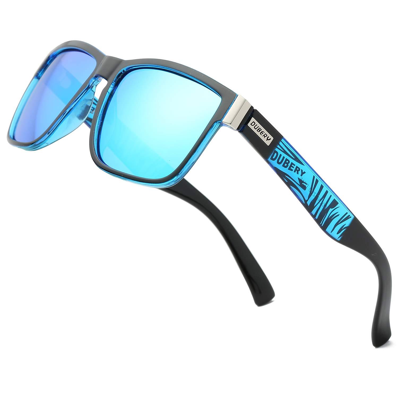 DUBERY Vintage Polarized Sunglasses for Men Women Retro Square Mirrored Lens Sun Glasses D518, Blue