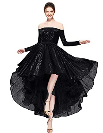 c88c0475a8 MarryingHoney Womens Sequin High Low Prom Evening Dresses Long Sleeve Off  Shoulder Formal Gown Black Size
