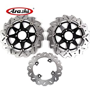 Arashi Front Rear Brake Disc Rotors for KAWASAKI Ninja ZX6R 1998-2001 Motorcycle Replacement Accessories ZX-6R 1999 2000 Black ZX636 2002