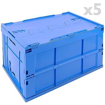 PrimeMatik - Caja de plástico EuroBox Plegable y apilable. Contenedor Azul con Tapa 60x40x32cm 65L 5-Pack: Amazon.es: Electrónica