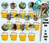 Moana Maui Hawaiian Disney Movie Double-Sided Cupcake Picks Cake Toppers -12 pcs